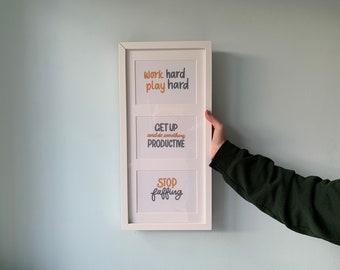 Get It Done Prints | Motivation, Procrastination, Productive, Home, Work Hard, Gift, Set, Wall Art, Bathroom, Kitchen, Bedroom, UK