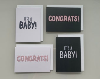 New Baby Cards | 4 DESIGNS | Hand Lettered Calligraphy | Baby Shower | Newborn, Congratulations, Boy, Girl, Grandparent, Son, Daughter, UK