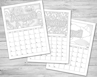 photograph about Printable Coloring Calendar identified as Coloring calendar Etsy
