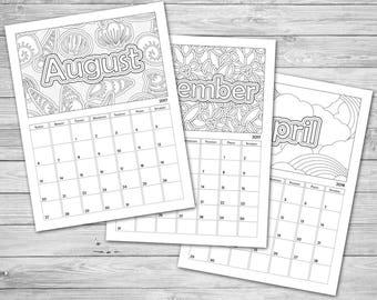photograph about Printable Coloring Calendar identified as Coloring calendar Etsy