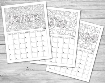 printable coloring calendar 2019