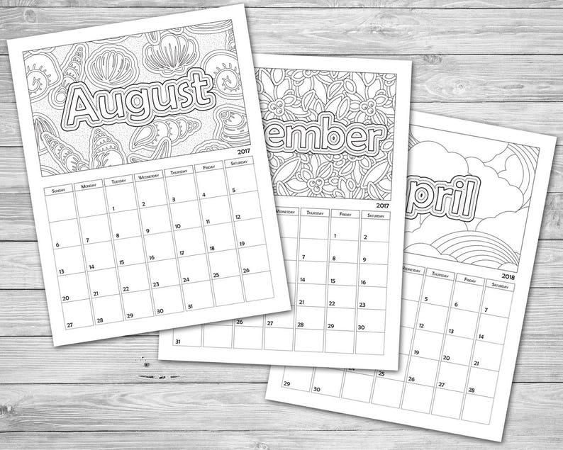 Printable Coloring Calendar 2021