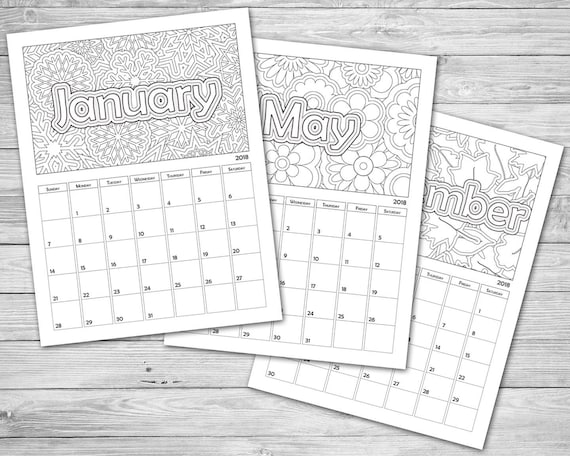 Coloring Calendar 2021 Download And Print Now Etsy