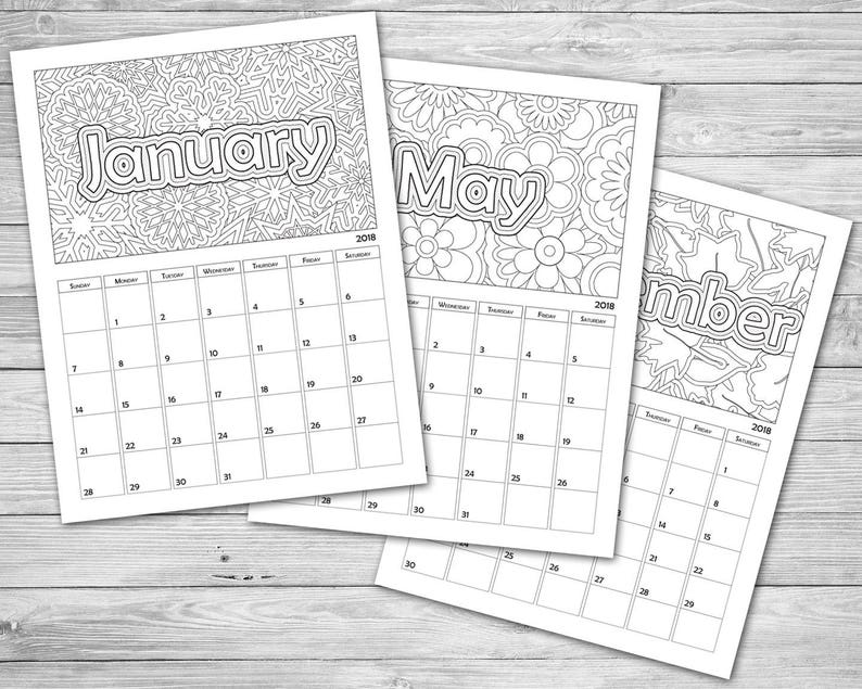 graphic relating to Printable Coloring Calendar titled Printable Coloring Calendar 2019