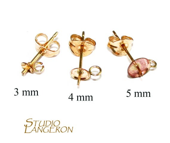 6 mm Gold Earring components 2 piece Jewelry making 5 14K Solid gold 14K Solid gold Pearl Post Earring Mountings size 3 4 1 pair