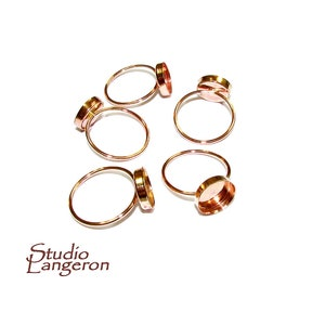 14K gold filled 14K Rose gold filled open ring with bezel cup 8 mm blank ring 1 piece Rose Gold filled bezel cup ring gold filled