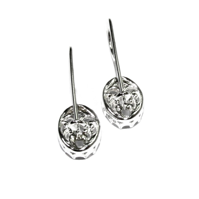 1 pair Jewelry making Setting 8x10 mm size 925 sterling silver blank earrings with bezel cup oval bezel cup 2 piece base earrings