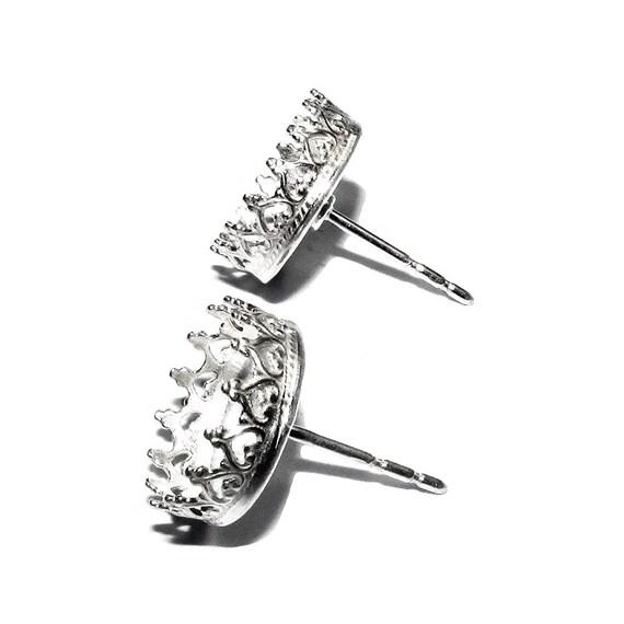 925 argent Sterling Galerie fil lunette Post boucle mm, d'oreille fixations taille 10 mm, boucle composants de boucle d'oreille, cadre, poste de boucle d'oreille - 1 paire (2 pièces) 182035