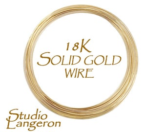 18K solid yellow gold wire half-hard thickness 28, 24, 22, 20, 18 Ga, wire solid gold, 18K solid gold, pure gold, gold wire – 4 inch (10 cm)