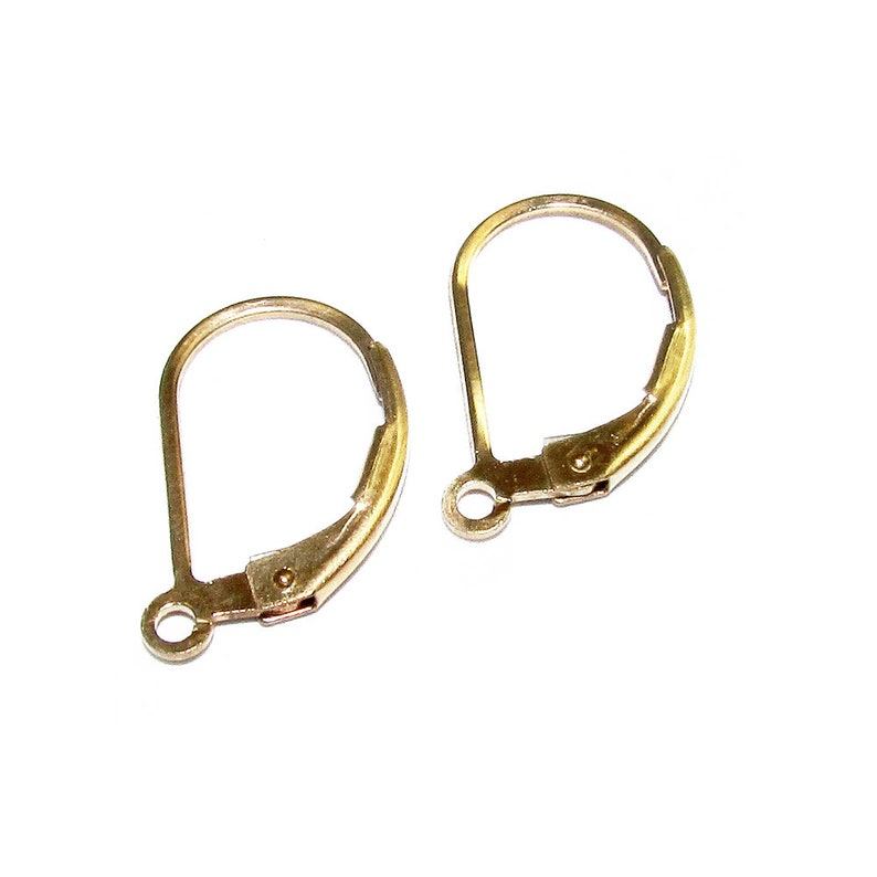 14K Yellow Gold Filled Lever-Back Ear Wire with Open Ring Earrings gold filled Earring components 1 pair Gold Filled 14K Gold filled