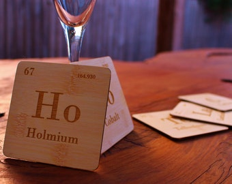 Periodic table chocolate etsy chocolate periodic table wooden drinks coasters set of 5 urtaz Gallery