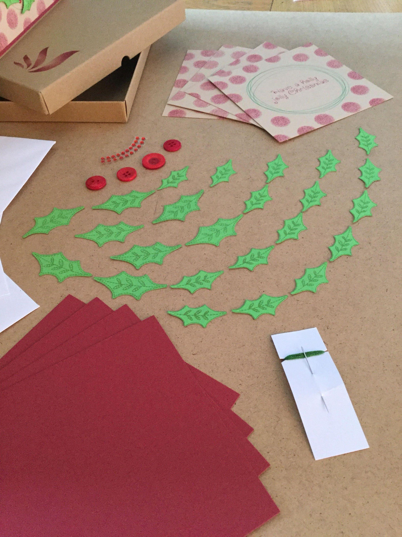 recycled kraft card kit christmas card kit xmas diy wreath