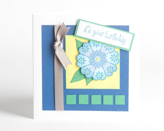 Happy birthday flower card kit handstamped diy craft kit etsy happy birthday flower card kit handstamped diy craft kit diy greeting cards cardmaking make your own cards beginners kit m4hsunfo