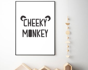 black and white nursery decor, black and white, nursery printable decor, nursery decor, cheeky monkey decor