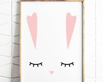 rabbit print, rabbit ears, rabbit lover gift, easter gift, easter decorations, easter bunny, bunny prints, bunny ears, digital art