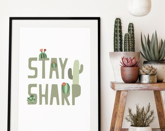 cactus print, cactus art, cactus printable, kids botanical print, kids plantprint, cactus wall art, instant download, print art
