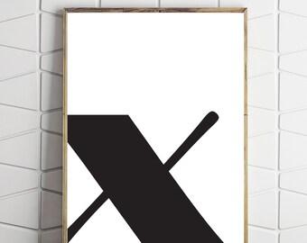 typography decor, instant download x, modern typography x, x download art, digital download x, typography decor