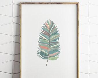 blue feather wall decor, feather printable art, feather art, feather decor, feather wall art, feather decor art