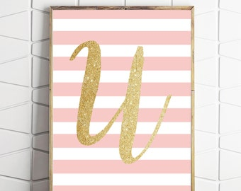 U initial print, gold glitter letter, letter U print, pink nursery decor, monogram printable, pink nursery decor, gold nursery
