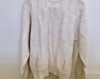 Vintage Cotton Cable Knit Sweater Made in the USA