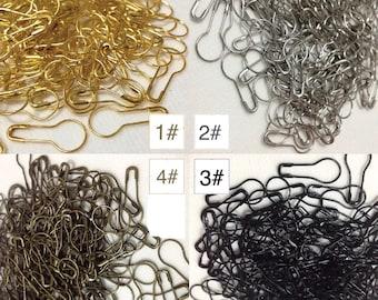 100pcs Bulb Safety Pins Pear Shaped Pins Calabash Knitting & Crochet Stitches Marker Metal Tag Pins - Gold Silver Black Bronze