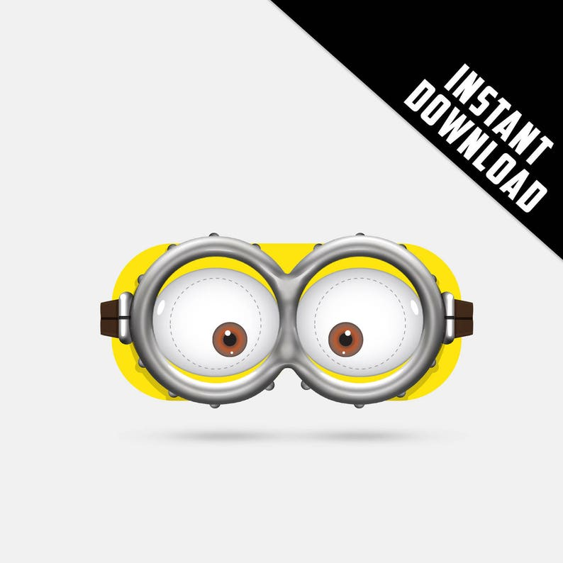 picture relating to Minion Goggle Printable named Despicable Me Minion Printable Paper Gles, social gathering mask, birthday, picture booth props ,little ones mask, 3D video clip gles