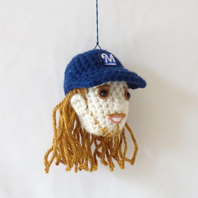 Unique Fan Crochet Stuffed Funny READY TO SHIP Amigurumi Milwaukee Brewers Baseball Player Mlb Josh Hader Ornament Cute