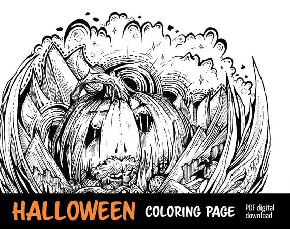 Halloween Coloring Page, Pumpkin Themed Art, Fall Gift ideas, Adult  Coloring Pages, Pumpkin Mountain King, Instant digital download / PDF