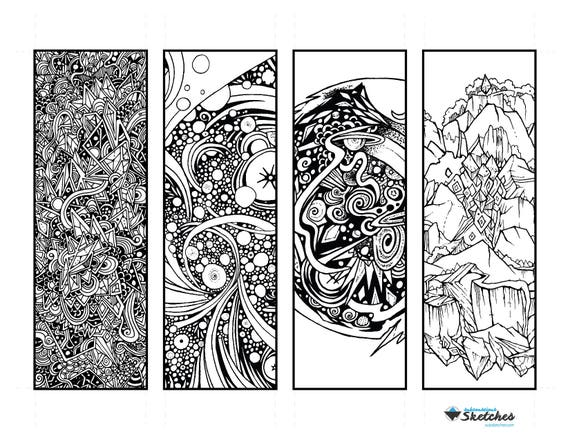 Abstract Coloring Bookmarks | Printable Coloring Page for Adults and Kids |  Instant Download, Digital Download, | Cosmic Bookmark, Zenoodle