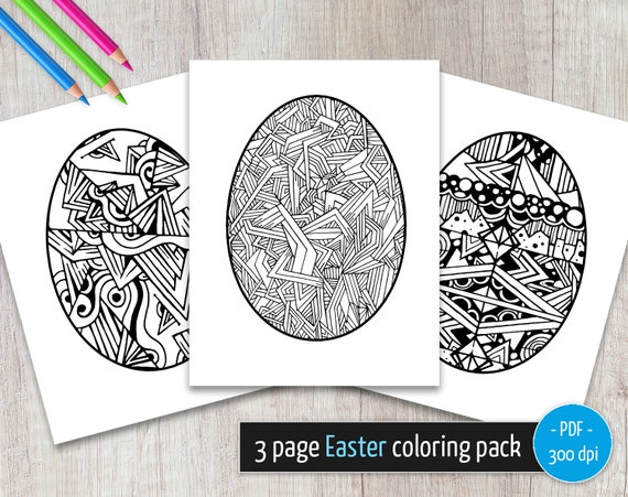 Easter Coloring Pages Easter Egg Hunt Printable Coloring Etsy