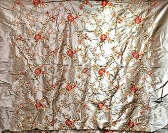 Floral Silk Bed Cover