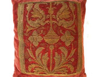 18th Century Italian Embroidery Pillow