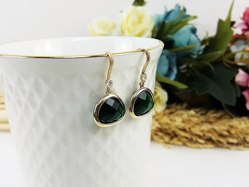 Emerald Gold With Zircon Earrings Drop Earrings Dangles Earrings Glassstone Wedding Jewelry Bridesmaid Earrings Gift For Mom Gift For Her