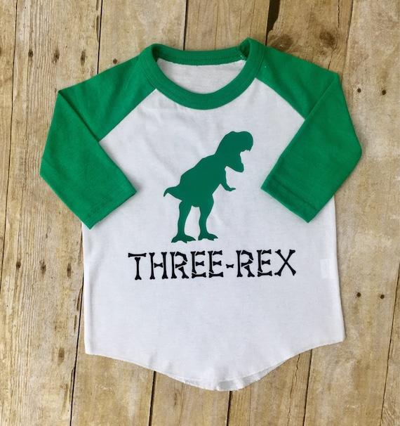 Three Rex Shirt For 3 Year Old Custom Birthday
