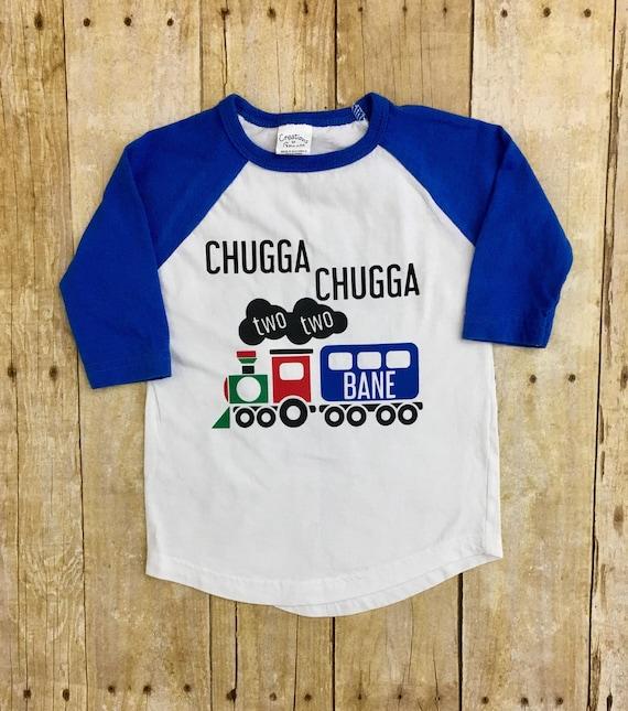 Chugga Two Shirt 2 Year Old Train Birthday Raglan