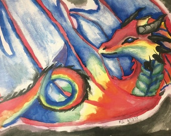 Rainbow Dragon Watercolor Painting Prints