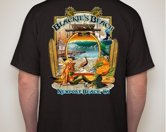 Blackie S Beach Newport Beach T Shirt In White By Rick Etsy