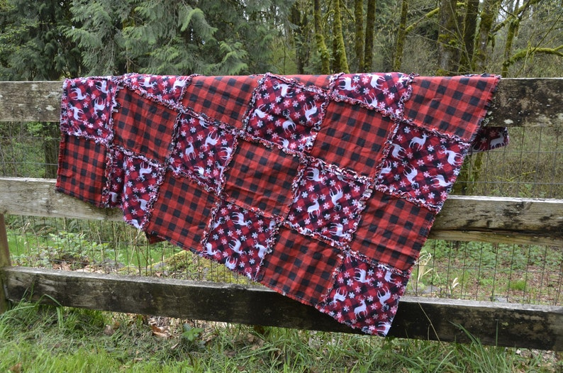 Woodland Animal Gray and Red Plaid