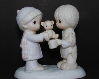 """Precious Moments """"Christmastime Is For Sharing"""" - RETIRED 1990, Christmas - Boy Giving His Teddy Bear To Poor Child, Sharing The Love Of God"""