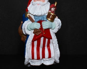 "Hallmark VINTAGE Christmas Ornament ""Merry Olde Santa"" -7th In Merry Olde Santa Series- Star-Spangled Santa Carrying Toys And American Flag"