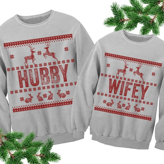 Couples Sweatshirts. Hubby Wifey Unisex Ugly Sweaters. Ugly Family  Sweatshirt. Tacky Christmas Sweater. Wedding Engagement Christmas gift.