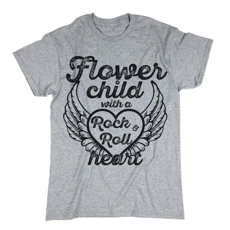 2da99a1f Flower Child With A Rock & Roll heart Shirt. Tee Shirt. Wings.   Etsy