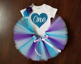 Baby Girl 1st Birthday Outfit - Purple and Turquoise Tutu