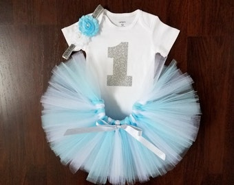 Baby Girl 1st Birthday Outfit - Light Blue Tutu - Cake Smash Outfit