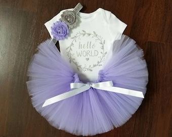 Hello World Tutu Set - Newborn Outfit Pink or Purple