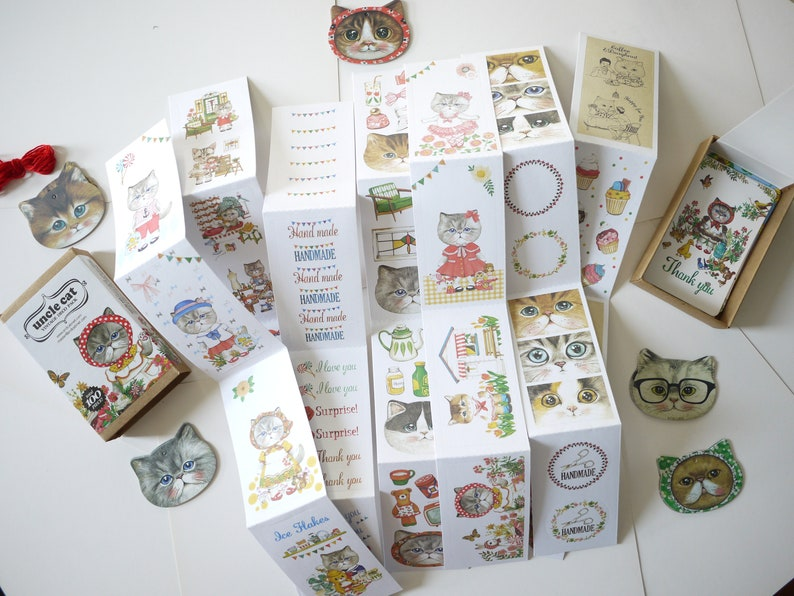 7 stickers, 20 tags, 10 mini cards, 1 red string, uncle cat vintage Deco  Pack box set