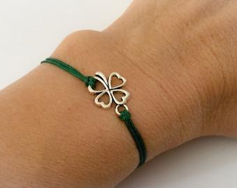 Inspirational Clover Bracelet. Adjustable Green String Shamrock Bracelet. Good Luck. St. Patrick's Day.