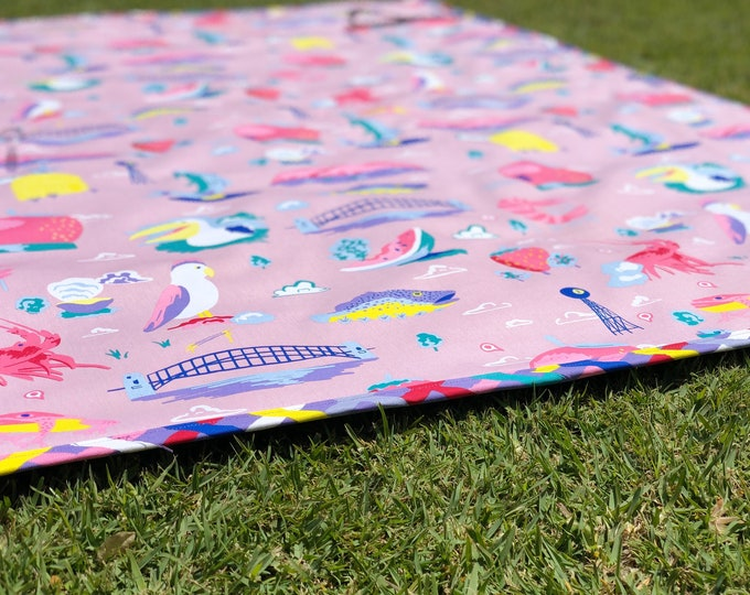 Featured listing image: Around Oz Collection - Big Things Picnic Blanket (multi-colour border print)