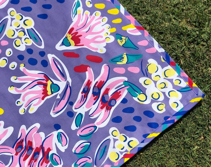 Featured listing image: Around Oz Collection - Floralzalia Picnic Blanket (multi-colour border print)