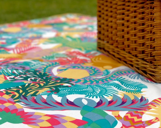 Featured listing image: Rainbow Jungle Picnic Blanket